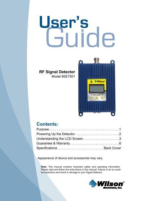 Wilson RF Signal Detector USER GUIDE - AlternativeWireless