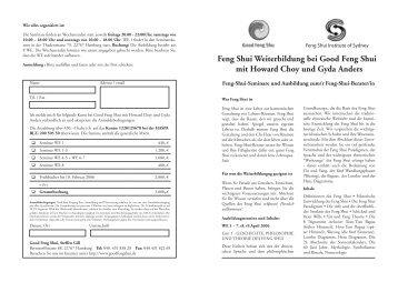 Feng Shui Weiterbildung bei Good Feng Shui mit Howard Choy und ...