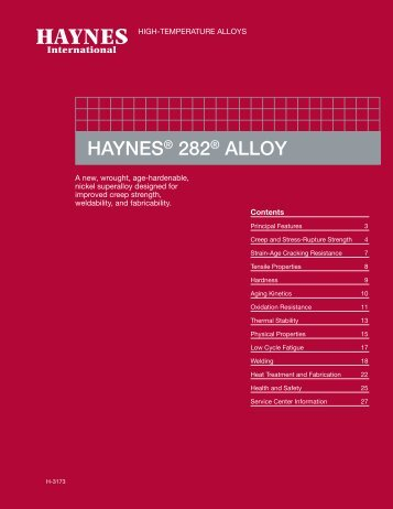 HAYNES ® 282 ® alloy Product Brochure - Haynes International, Inc.