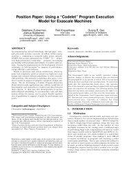 "Position Paper: Using a ""Codelet"" - CAPSL - University of Delaware"
