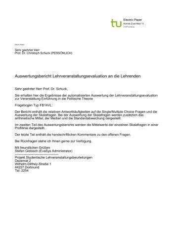 Evaluation - Prof. Dr. Christoph Schuck