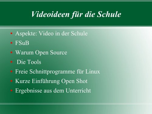 Videoideen für die Schule - iMedia