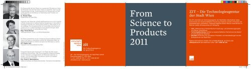 From Science to Products 2011 - ZIT