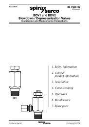 BDV1 and BDV2 Blowdown / Depressurisation Valves - Spirax Sarco