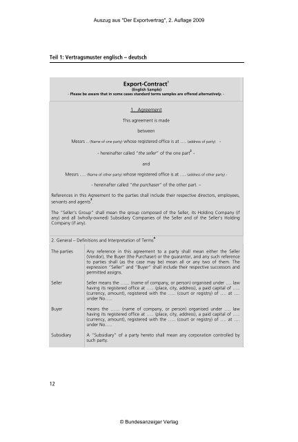Muster Eines Exportvertrages In Deutscher Und Englische Fassung