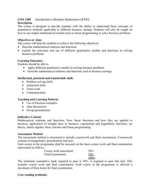 COX 1209 Introduction to Business Mathematics (3 CU) Description