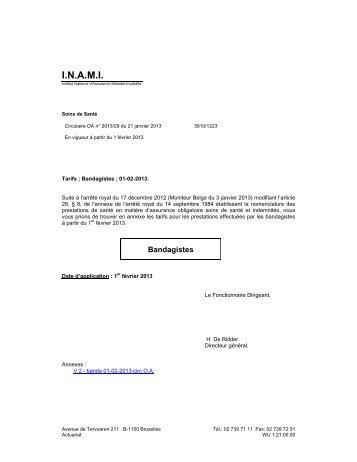 Tarifs des Bandagistes – A partir du 01/02/2013 - Inami