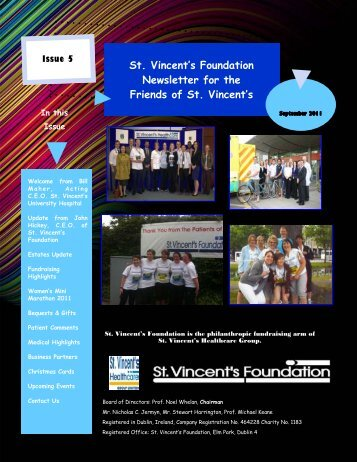 Sept 2011 Newsletter - St. Vincent's Foundation