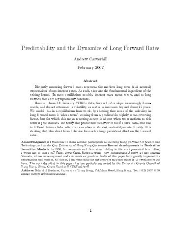 Predictability and the Dynamics of Long Forward Rates