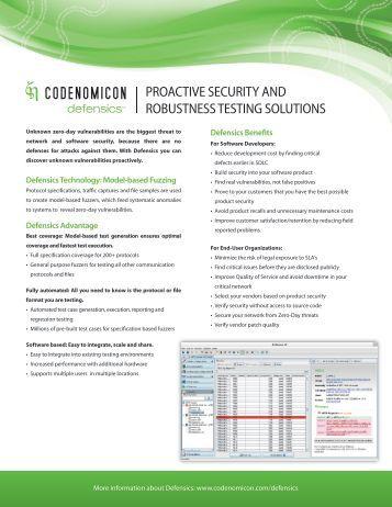 defensics brochure, 2-page version - Codenomicon