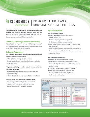 defensics brochure, 2-page version - Codenomicon