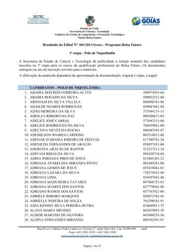 Resultado do Edital Nº. 001/2011/Sectec - Programa Bolsa Futuro 1ª ...