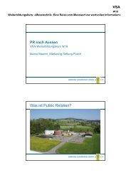 Public Relation nach aussen - VSA