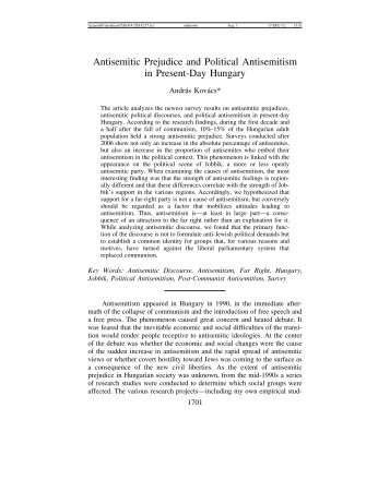 Hungary - Journal for the Study of Antisemitism