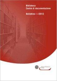 Bollettino Biblioteca Centro di documentazione 03/2012 - CCIAA di ...