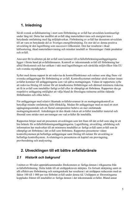 Mottagningskrav och kontroll av inkommande avfall ... - Avfall Sverige