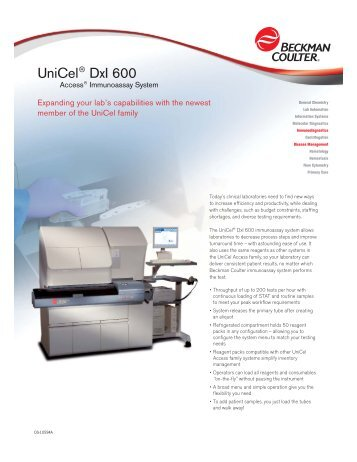 DxI 600 Data Sheet.qxd - Beckman Coulter