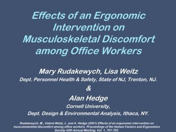 Effects of an ergonomic intervention on musculoskeletal discomfort ...