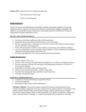 Page 1 of 2 Position Title: Placement Services ... - SE Works