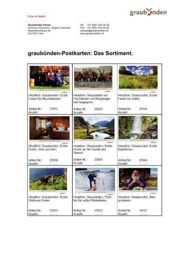 graubünden-Postkarten: Das Sortiment.