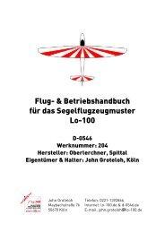 Flug- & Betriebshandbuch für das Segelflugzeugmuster Lo-100