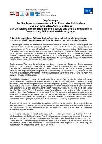 Die Empfehlungen zur Umsetzung der EU-Strategie Sozialschutz ...
