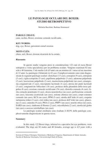 le patologie oculari del boxer: studio retrospettivo - Università degli ...