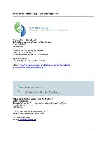 Brustkrebs: Selbsthilfegruppen und Beratungsstellen - Uni ...