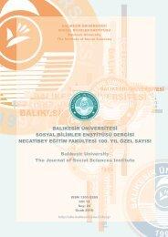 iç kapak - Sosyal Bilimler Enstitüsü