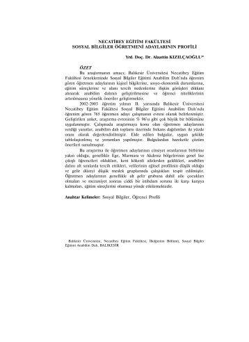 Necatibey Eğitim Fakültesi Sosyal Bilgiler Öğretmeni Adaylarının ...