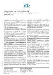 Produktinformationsblatt für die VPV VolksPflege - VPV Makler