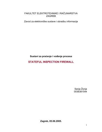 STATEFUL INSPECTION FIREWALL - SPVP@zesoi.fer.hr