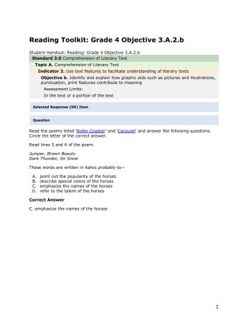 Reading grade 4 3.A.2.b - mdk12