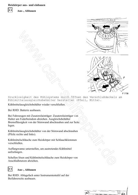 Heizkörper aus– und einbauen Aus–, Abbauen ... - Car-selfrepair.de