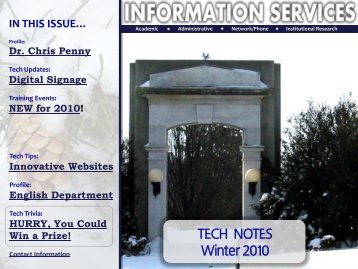 Information Services Winter 2010 Newsletter - West Chester University