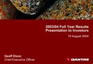 Download Presentation to Investors - Qantas