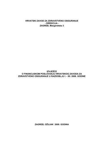Izvješće o financijskom poslovanju Hrvatskog zavoda za ...