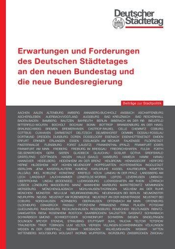 Erwartungen und Forderungen - Deutscher Städtetag