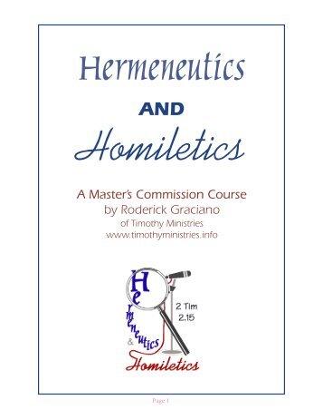 Polishing Our Hermeneutical Glasses - Timothy Ministries