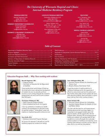 The University of Wisconsin Hospital and Clinics Internal Medicine ...