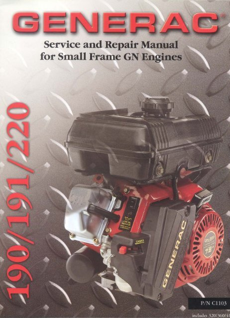 Service Manual For Small Frame GN Engines Generac Parts