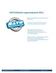 SATO Etiketten Lagerprogramm 2012 - Sato Europe