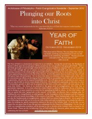 September 2012, The Year of Faith - Archdiocese of Philadelphia