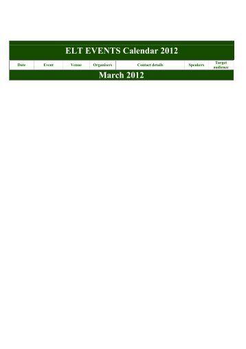 ELT EVENTS Calendar 2012 March 2012 - Braz-Tesol
