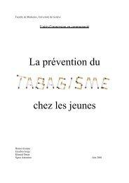 La prévention du chez les jeunes - Faculté de Médecine - Université ...