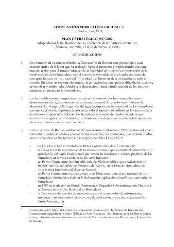El Plan Estratégico 1997-2002 - Ramsar Convention on Wetlands