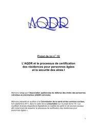 Projet de loi n 16 L'AQDR et le processus de certification des ...