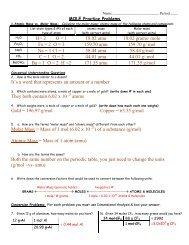 Worksheet: More Mole Problems