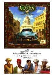 Cuba Eggertspiele, 2007 Michael RIENECK ... - Forum Mortsel