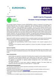 EURYI Call for Proposals